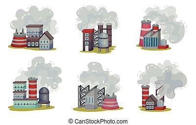 set, tossico, fuori, fumo, piante, pericoloso, ambiente ...