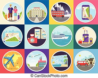 Set tourism with fast travel of the world concepts infographic. Vacation tour locations and items. Trip on the water, on land, in the air. Flat design style. Vector illustration icons