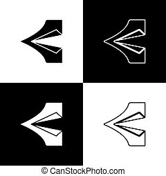 Set Tourist tent icon isolated on black and white background. Camping symbol. Vector Illustration