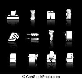 set, tovaglioli, igiene femminile, vettore, prodotti, asciugamani