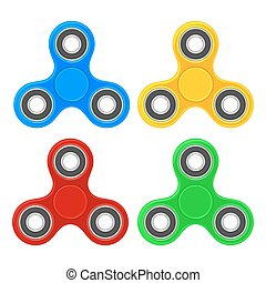 Set toy spinner. Vector flat color illustration. Isolated on white