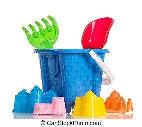 Set toys for sandbox isolated on white.