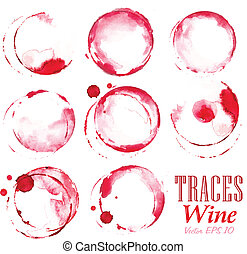 Set traces red wine marks - Set traces glass draw pour wine...