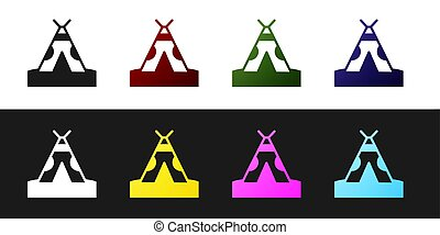 Set Traditional indian teepee or wigwam icon isolated on black and white background. Indian tent.  Vector.
