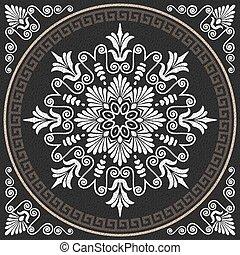 Greek ornament (Meander) - set Traditional vintage white...