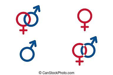 set, tradizionale, femmina, e, maschio, simboli, vettore