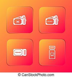 Set Train ticket, Ticket,  and Bus icon. Vector