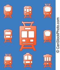 set trains on blue background