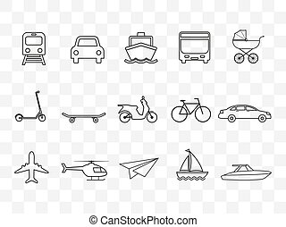 set., transport, design., icônes, illustration, plat, vecteur