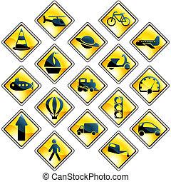 set, trasporto, 17, giallo, traffico, icona