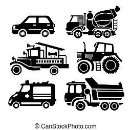 set, trasporto, automobile, vettore, nero, icona