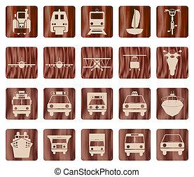 set, trasporto, icona