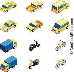 set, trasporto, isometrico
