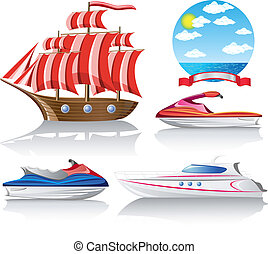 set, trasporto marino, icone