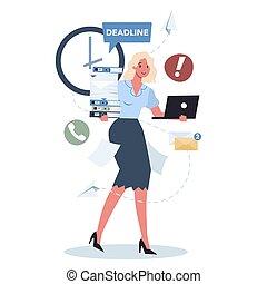 set., travail, date limite, occupé, lot, bureau, caractère, style de vie