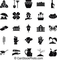 set, trave, stile, icone semplici