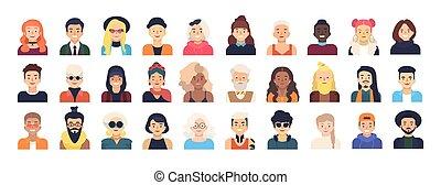set, trendy, femmina, acconciature, style., differente, women., vestito, isolato, fondo., bianco, appartamento, uomini, fascio, illustrazione, caratteri, cartone animato, avatars, vettore, maschio, o, vestiti