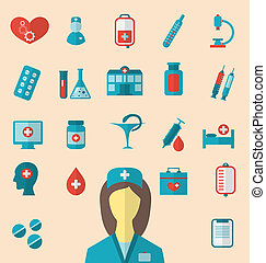 Set trendy flat icons of medical elements and nurse