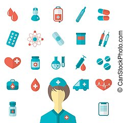 Set trendy flat medical icons isolated on white background