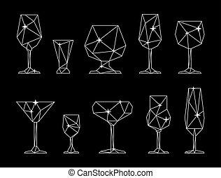 set, triangolo, occhiali, icona, alcolico