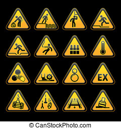 Set Triangular Warning sumbols  Hazard signs