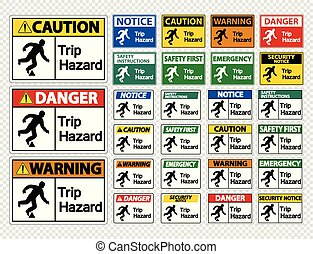 Set Trip Hazard Symbol Sign on transparent background