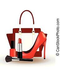 set, truccare, scarpa, borsetta, rosso
