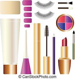 set., trucco, cosmetico, isolato, products., cosmetica