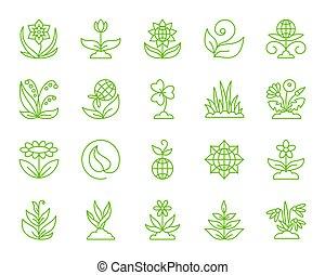set, tuin, iconen, eenvoudig, kleur, vector, lijn