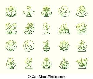 set, tuin, iconen, eenvoudig, vector, groene, lijn