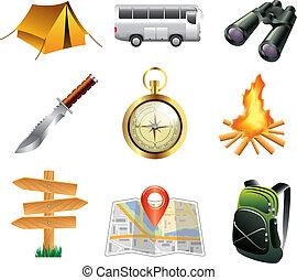 set, turismo, campeggio, icone
