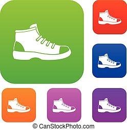 set, turista, collezione, scarpa