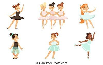 set, tutu, ballerine, adorabile, ballo, piccole ragazze, vestire, illustrazione, vettore, balletto
