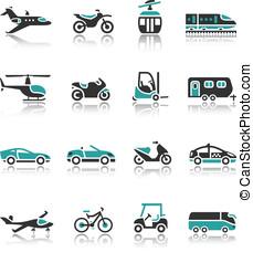 set, -, twee, vervoeren, iconen