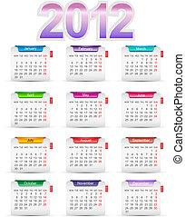 Set twelve month calendar 2012 - Set twelve month calendars...