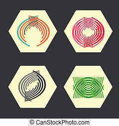 Set twirl elements of a simple design
