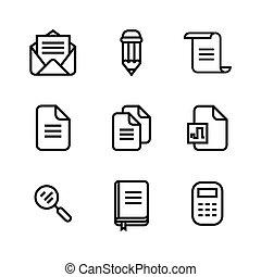 set, ufficio affari, icone