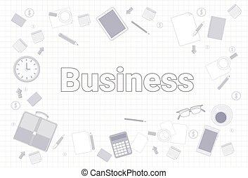 set, ufficio affari, quadrato, carta quaderno, fondo, roba