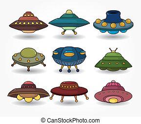 set, ufo, cartone animato, astronave, icona