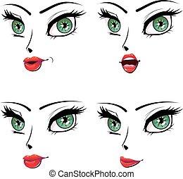 set, uitdrukking, vrouwlijk, gezichts