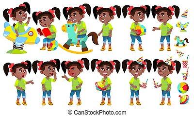 set, uitnodiging, meisje, afro, design., karakter, vrijstaand, kleuterschool, presentatie, vector., playing., american., illustratie, playground., maniertjes, spotprent, kaart, geitje, plezier, emotioneel, black., hebben