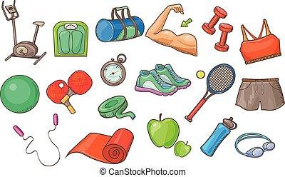 set, uitrusting, vector, inventarisatie, achtergrond, activiteit, illustraties, witte , sportende, lichamelijk