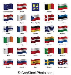 set, unione, paese, od, bandiere, europeo