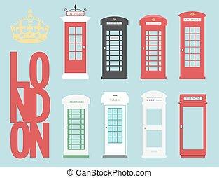 set United Kingdom Telephones Box London public call vector...