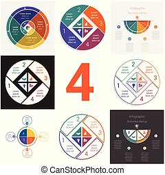 Set universal elements for templates Infographics cyclic...
