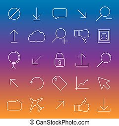 Set universal linear icons, vector