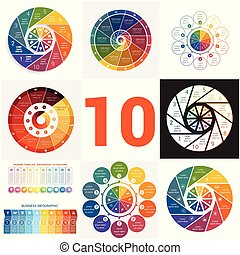 Set universal templates elements Infographics conceptual cyclic processes for 10 positions
