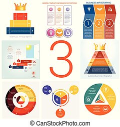 Set universal templates elements Infographics conceptual...