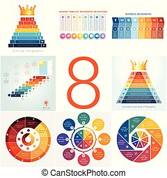 Set universal templates elements Infographics conceptual cyclic processes for 8 positions