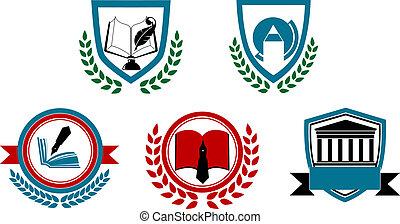 set, universiteit, of, symbolen, universiteit, abstract